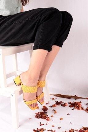 Ayakkabım Elimde Kadın Sarı Odin Örgülü Sarı Topuklu Terlik 3