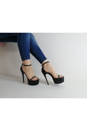 topuklushop Siyah Rugan Şeffaf Bantlı Ayakkabı 0