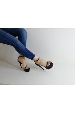 topuklushop Siyah Rugan Şeffaf Bantlı Ayakkabı 1