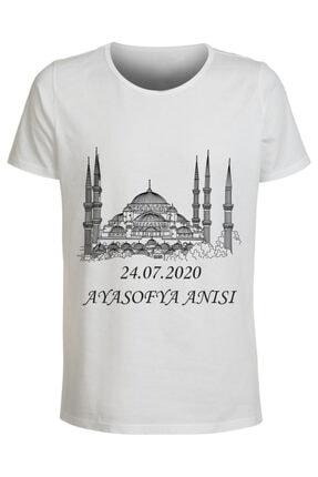 ABC Kadın Beyaz Ayasofya Anısı Baskılı T-Shirt 0