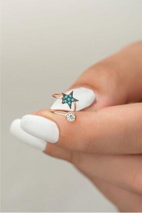 Papatya Silver 925 Ayar Gümüş Yıldız Taşlı Kıkırdak Küpe Rose Altın 1