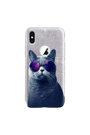Cekuonline Iphone Xr Kılıf Simli Shining Desenli Silikon Gümüş Gri - Stok909 - Hii Cat 0