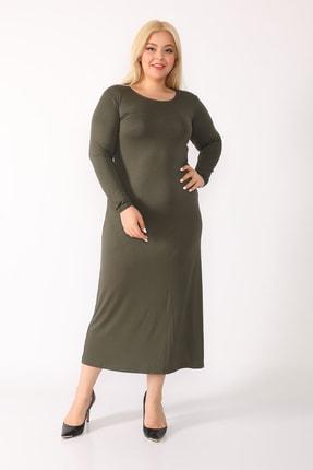 trendbwr Kadın Haki Yeşil Penye Elbise 1
