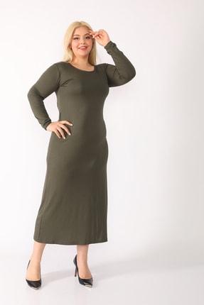trendbwr Kadın Haki Yeşil Penye Elbise 2