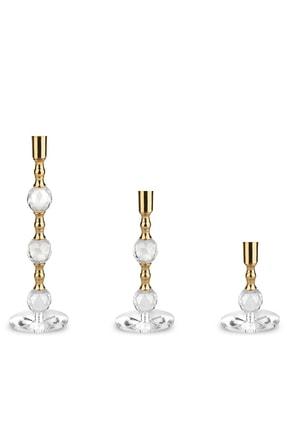 MumvemuM 3 Lü Set Altın Rengi Kristal Şamdan Ve 4 Adet Gold Şamdan Mum 1
