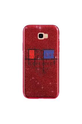 Cekuonline Samsung Galaxy J4+ Plus Kılıf Simli Shining Silikon Kırmızı - Stok876 - Loveheart 0