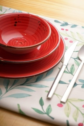 By Bone Porselen Ardent 24 Parça Kırmızı Desenli Yemek Takım 0