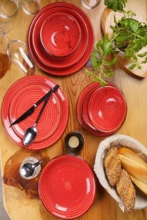 By Bone Porselen Ardent 24 Parça Kırmızı Desenli Yemek Takım 1