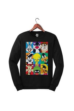 Darkia Looney Tunes Karakterleri Baskılı Uzun Kollu Üst - Sweatshirt 0