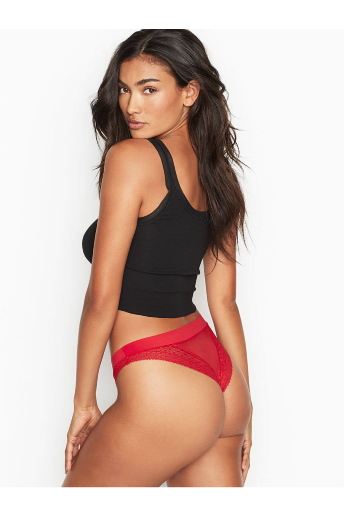 Victoria's Secret Kadın Kırmızı Dantelli Brazilian Külot