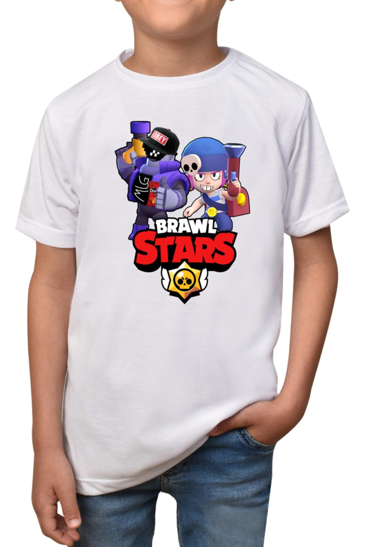 Çocuk Beyaz Brawl Stars T-shirt T-1