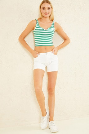 New Now Kadın Yeşil Mini V Yaka Çizgili Crop Bluz 20Y702193 1