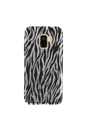 Cekuonline Samsung Galaxy J6 Kılıf Simli Shining Desenli Silikon Gümüş Gri - Stok64 - Zebra Mod 0