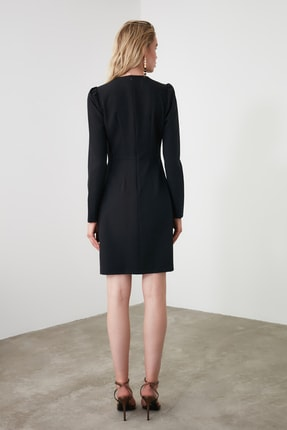 TRENDYOLMİLLA Siyah Kruvaze Elbise TWOAW20EL1341 4