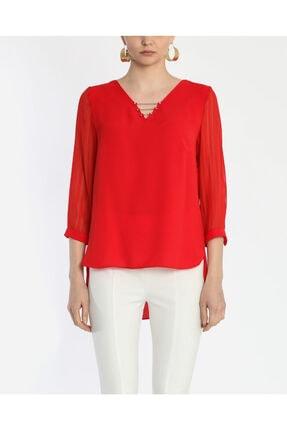 Ayhan Kadın Kırmızı V Yaka Bluz 1980892 0