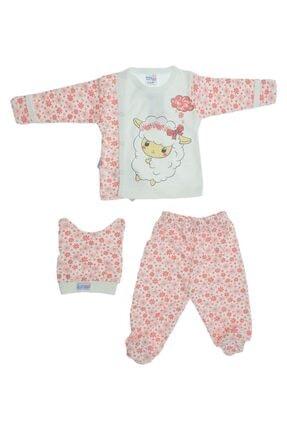 Baby Can Kız Bebek Kuzu Desenli Üç Parça Zıbın Takımı 0