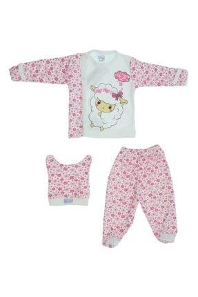 Baby Can Kız Bebek Kuzu Desenli Üç Parça Zıbın Takımı 1