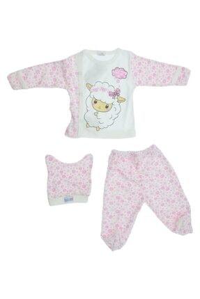 Baby Can Kız Bebek Kuzu Desenli Üç Parça Zıbın Takımı 2