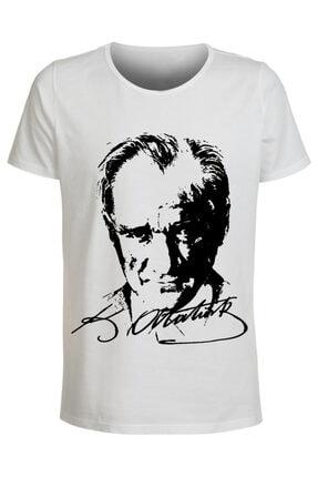 ABC Unisex Beyaz Mustafa Kemal Atatürk Baskılı T-shirt 0