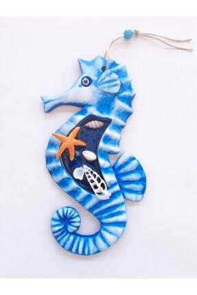 Akın Aksesuar Mavi Renk Deniz Atı Figürlü Duvar Teras Balkon Kapı Süsü 0