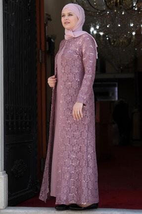 Amine Hüma Kadın Pudra Papatya Tesettür Elbise 1