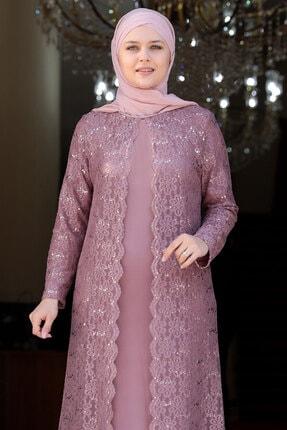 Amine Hüma Kadın Pudra Papatya Tesettür Elbise 3