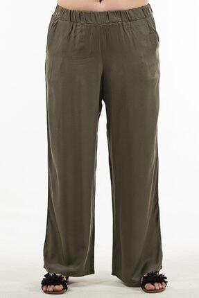 Womenice Kadın Haki Beli Lastikli Pantolon 2