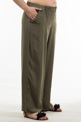 Womenice Kadın Haki Beli Lastikli Pantolon 3