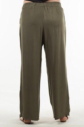 Womenice Kadın Haki Beli Lastikli Pantolon 4