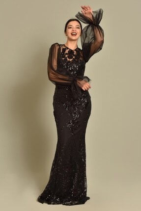 Modakapimda Siyah Kolları Tül Pul Payet Abiye Elbise 0
