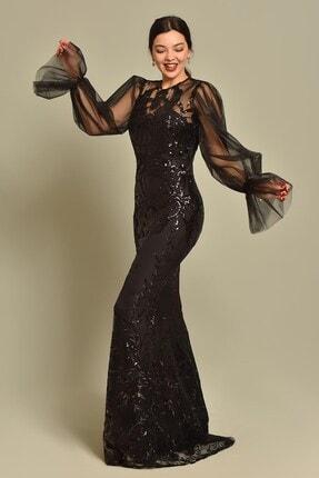 Modakapimda Siyah Kolları Tül Pul Payet Abiye Elbise 2