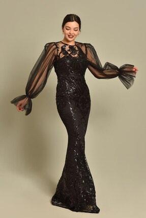 Modakapimda Siyah Kolları Tül Pul Payet Abiye Elbise 4