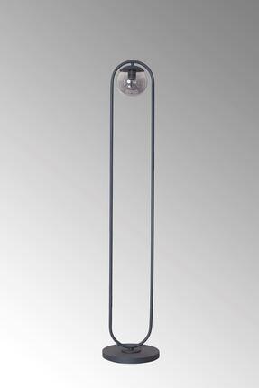 Luzarana Zenga Antrasit Metal Gövde Füme Camlı Tasarım Lüx Yerden Aydınlatma Lambader 2