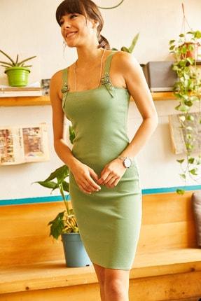 Olalook Kadın Çağla Yeşili Kuş Gözü Detaylı Yazlık Triko Elbise ELB-19001212 1