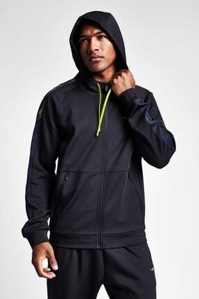 19n-1010 Siyah Erkek Antrenman Fermuarlı Kapüşonlu Üst resmi