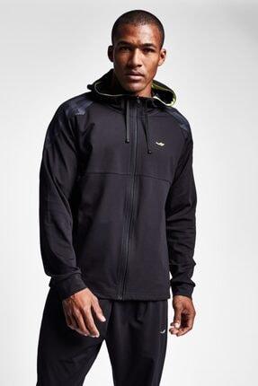 19n-1001 Siyah Erkek Koşu Fermuarlı Kapüşonlu Üst resmi
