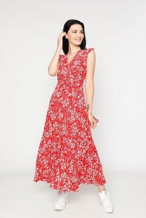 EPULİMO Kadın Kırmızı Kruvaze Yaka Kuşaklı Kısa Kol Viskon Elbise Mcg 621 2