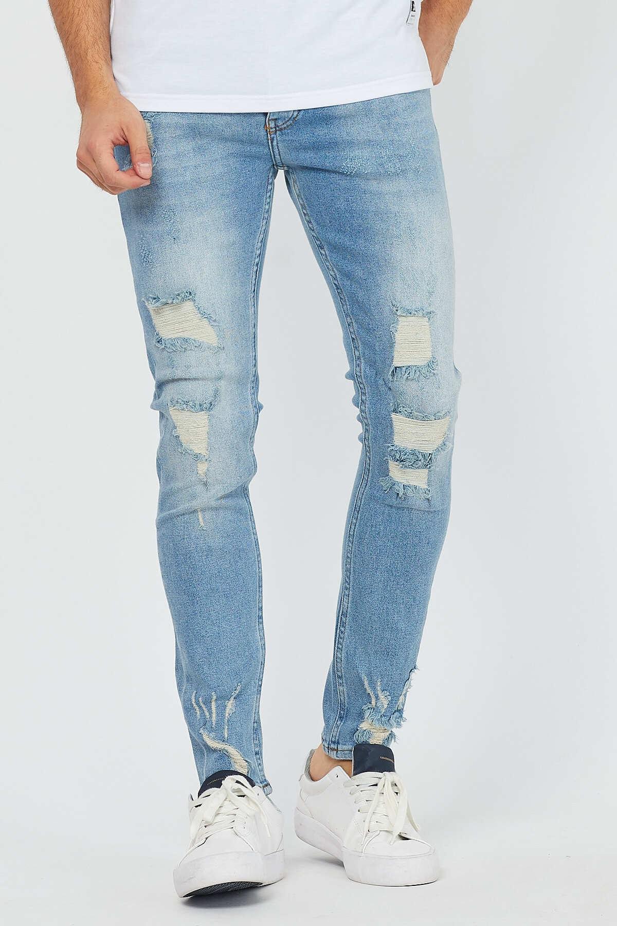 Erkek Mavi Yırtık Kot Pantolon Super Skinny