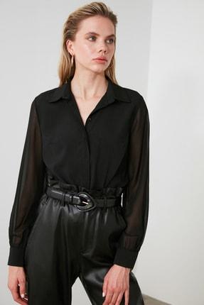 TRENDYOLMİLLA Siyah Kol Detaylı Gömlek TWOAW20GO0116 3