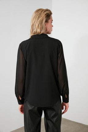 TRENDYOLMİLLA Siyah Kol Detaylı Gömlek TWOAW20GO0116 4