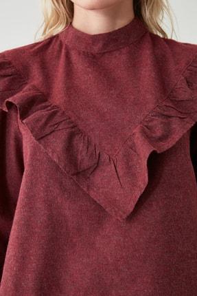 TRENDYOLMİLLA Bordo Fırfır Detaylı Bluz TWOAW20BZ0887 2