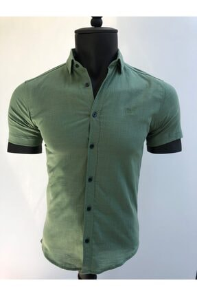 KAYRAN Erkek Yeşil Kısa Kollu Gömlek 0