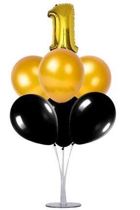 KullanAtParty Altın Beyaz Pembe 4 Yaş Doğum Günü Temalı Balon Standı 1