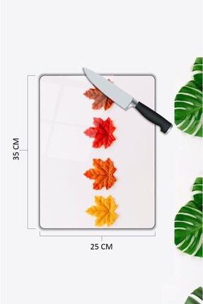 Pi Dekorasyon Renkli Yapraklar | Cam Kesme Tahtası | 25 Cm X 35 Cm 1