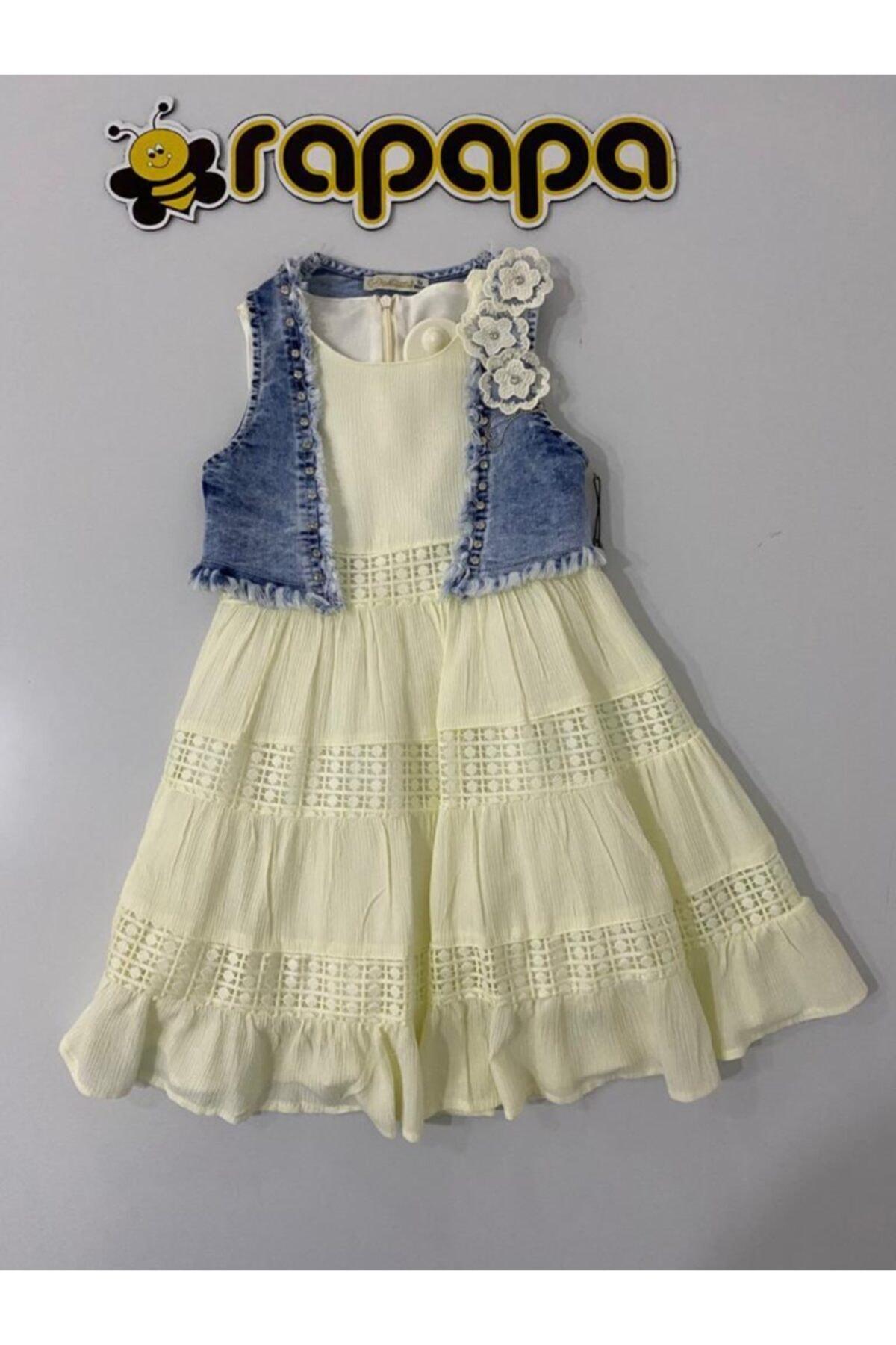 Kız Çocuk Muhteşem Iddialı Kot Yelekli Elbise 4132