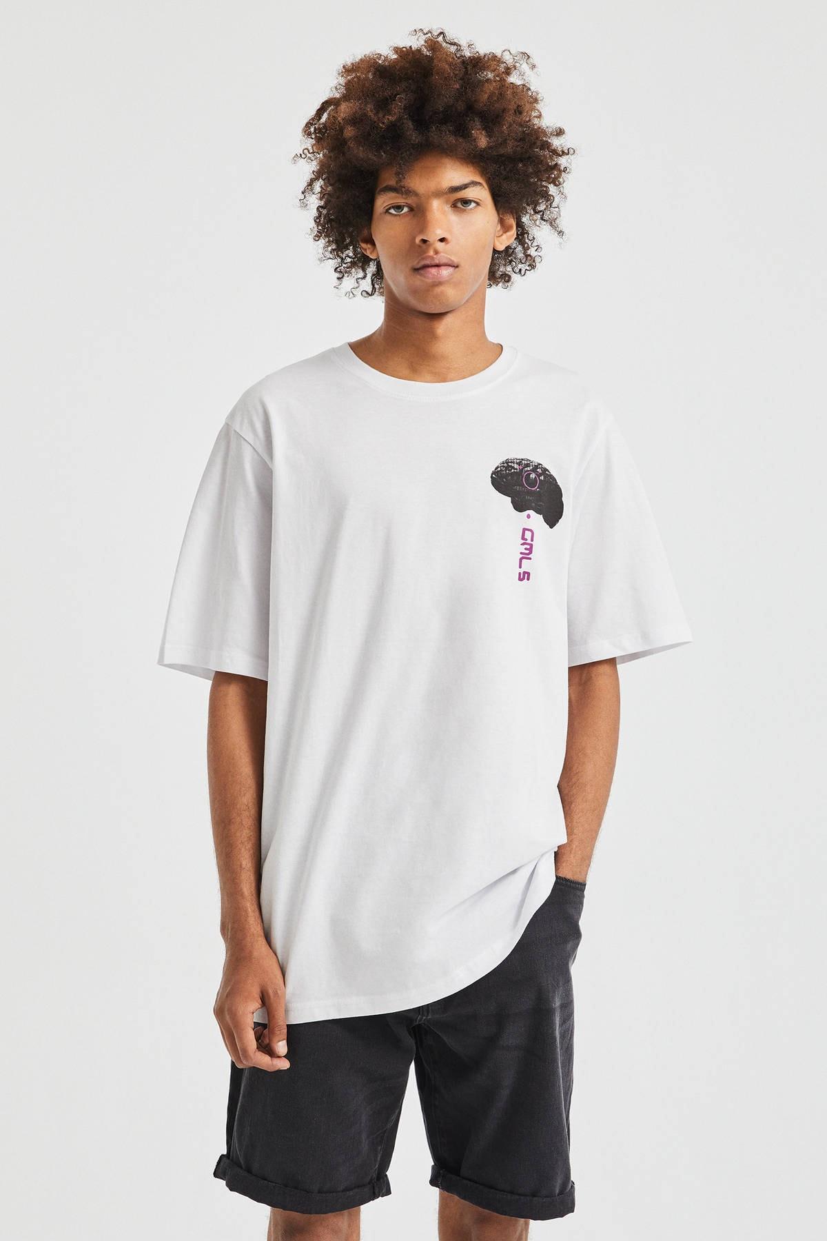Pull & Bear Erkek Beyaz El Desenli T-Shirt 09247567 0