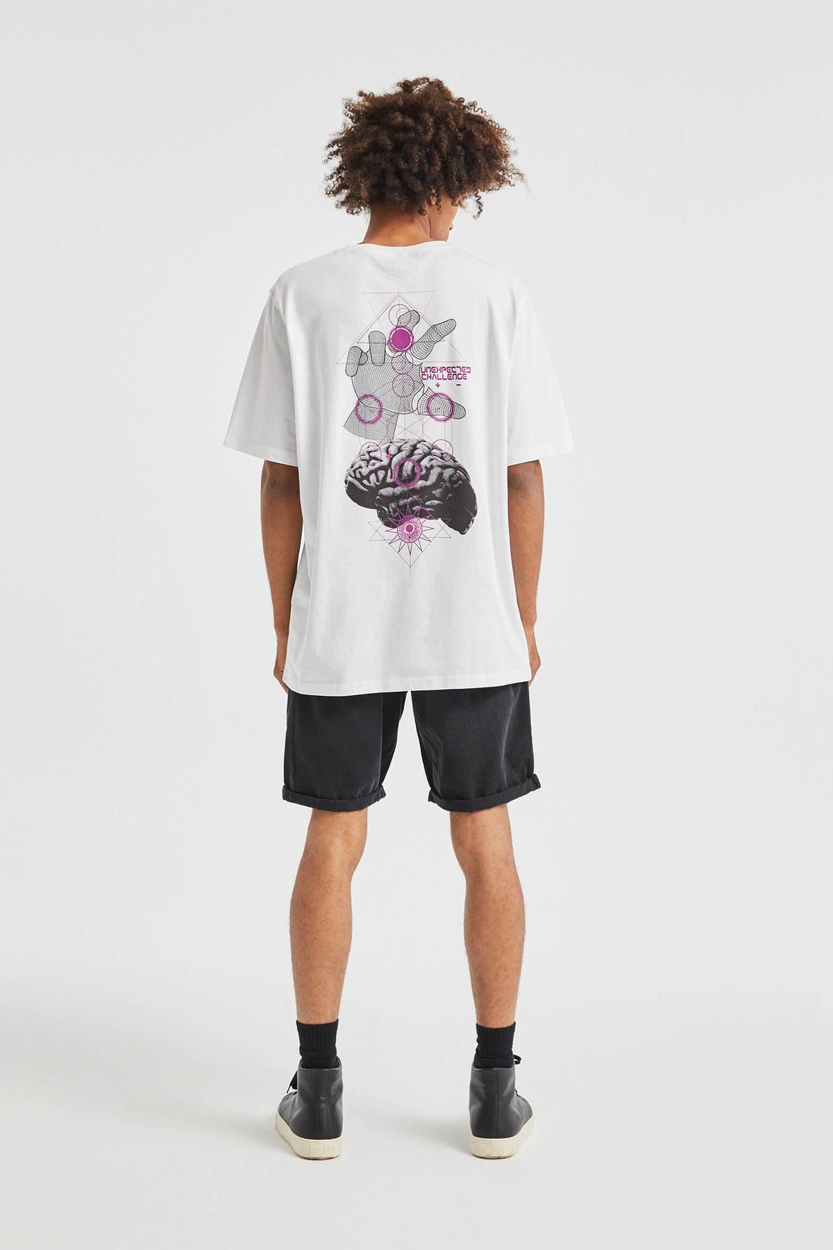 Pull & Bear Erkek Beyaz El Desenli T-Shirt 09247567 1