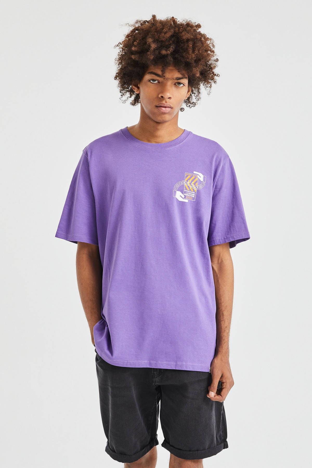Pull & Bear Erkek Koyu Mor 3D Küp Desenli T-Shirt 09247566 0