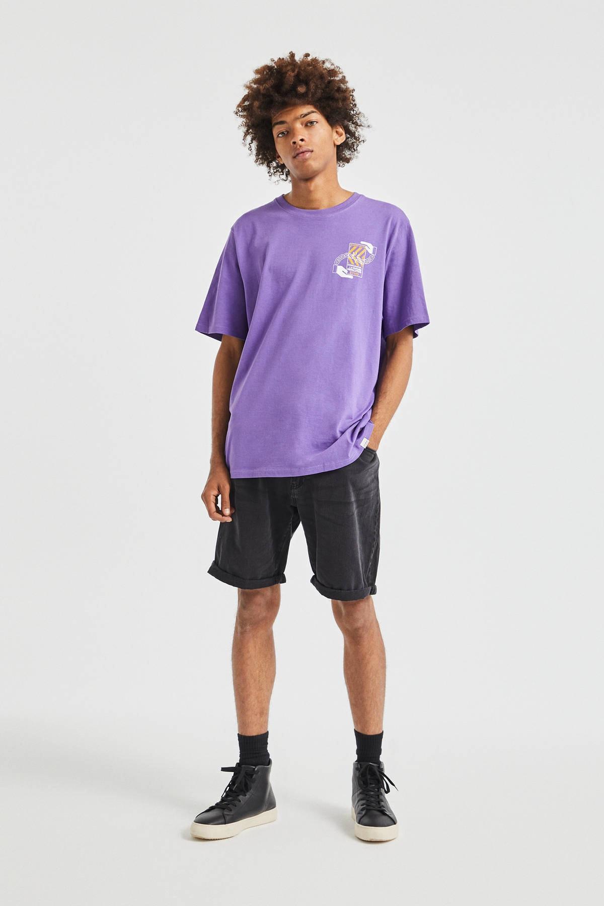 Pull & Bear Erkek Koyu Mor 3D Küp Desenli T-Shirt 09247566 2