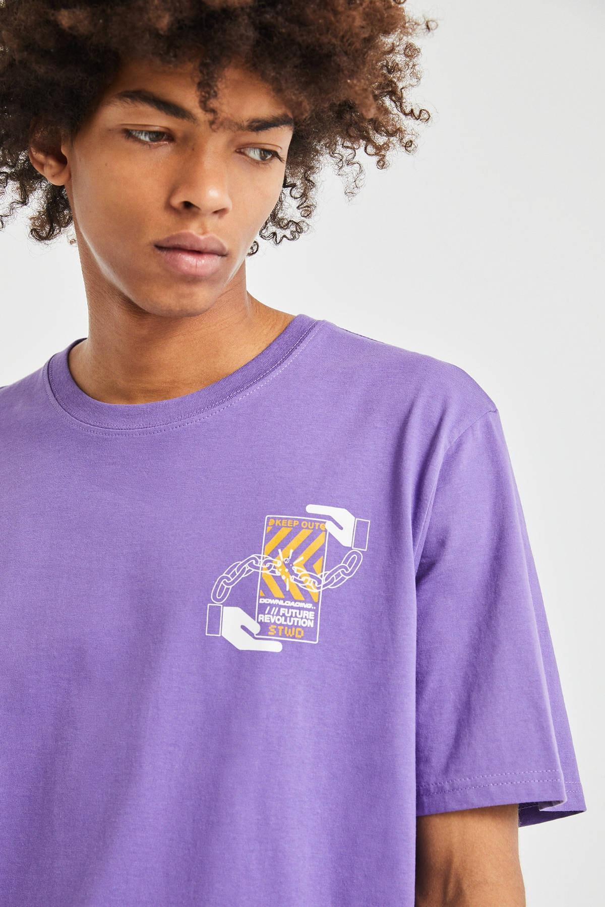 Pull & Bear Erkek Koyu Mor 3D Küp Desenli T-Shirt 09247566 3